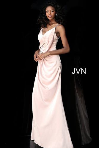 Blush High Slit Ruched Bodice Bridesmaid Dress JVN61571 - Marleighz