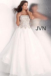 Off White Strapless Embroidered Bodice Gown JVN62012 - Marleighz