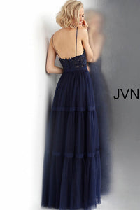 Navy Embroidered Bodice V Neck Prom Gown JVN62411 - Marleighz