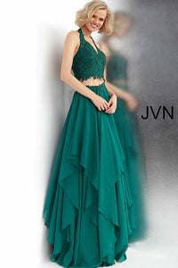 Emerald Two Piece Halter Neckline Prom Dress JVN62421 - Marleighz