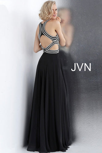 Black Silver Embellished Bodice High Neck Prom Dress JVN62472 - Marleighz