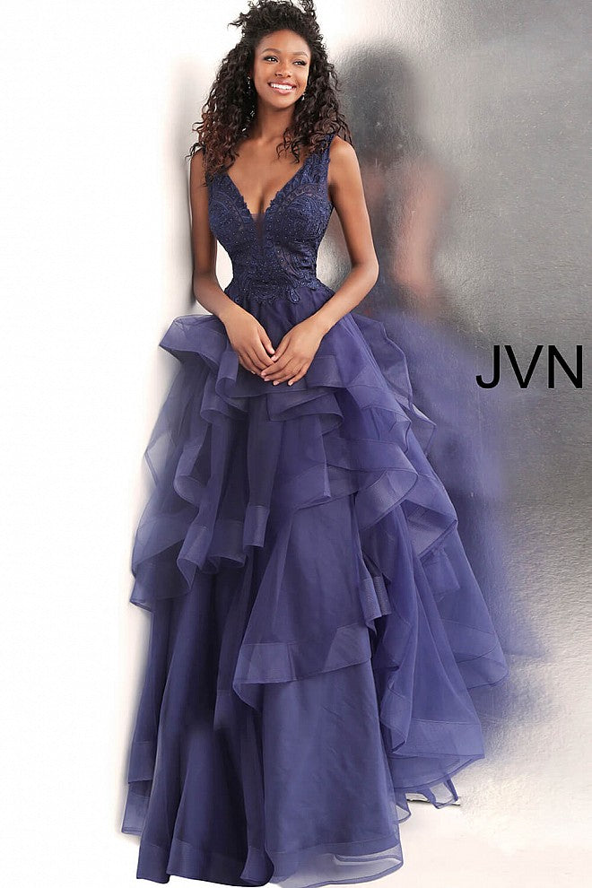 Navy Embroidered Bodice Backless Prom Ballgown JVN62554 - Marleighz