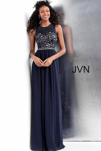 0fdb2af3e3d81 Navy Sleeveless Crew Neck Prom Dress JVN62561