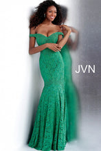 Load image into Gallery viewer, Jade Embellished Off the Shoulder Lace Prom Dress JVN62564 - Marleighz