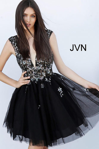 Black Embellished Backless Fit and Flare Short Dress JVN62620 - Marleighz