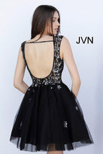 Load image into Gallery viewer, Black Embellished Backless Fit and Flare Short Dress JVN62620 - Marleighz