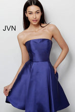 Load image into Gallery viewer, Navy Strapless Fit and Flare Homecoming Dress JVN62634 - Marleighz