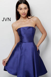Navy Strapless Fit and Flare Homecoming Dress JVN62634 - Marleighz