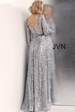 Load image into Gallery viewer, Silver Long Sleeve Embellished Prom Gown JVN62711 - Marleighz