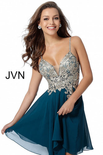 Teal Embroidered Bodice Chiffon Homecoming Dress JVN62738 - Marleighz