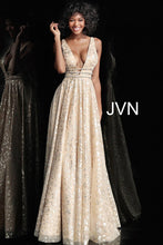 Load image into Gallery viewer, Gold Embellished Plunging Neckline A Line Prom Dress JVN62751 - Marleighz
