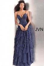 Load image into Gallery viewer, Navy Ruffle Skirt Spaghetti Straps Prom Dress JVN63544 - Marleighz