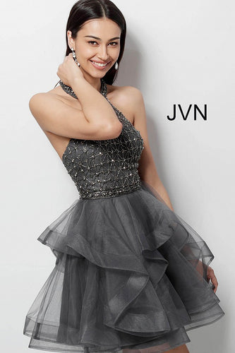 Charcoal High Neck Beaded Bodice Homecoming Dress JVN635601 - Marleighz