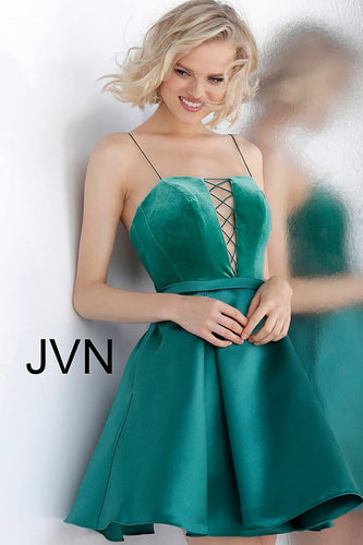 Teal Fit and Flare Velvet Bodice Homecoming Dress JVN63570 - Marleighz