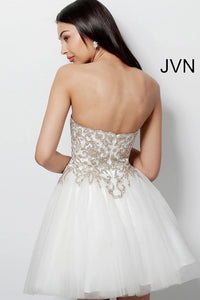 Off White Gold Fit and Flare Embroidered Homecoming Dress JVN63635 - Marleighz
