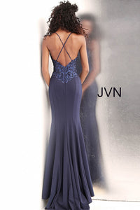 Navy Embroidered Bodice Criss Cross Back Prom Dress JVN64111 - Marleighz