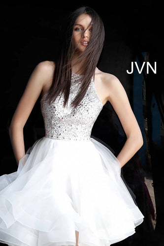 White Fit and Flare Embellished Bodice Homecoming Dress JVN64115 - Marleighz