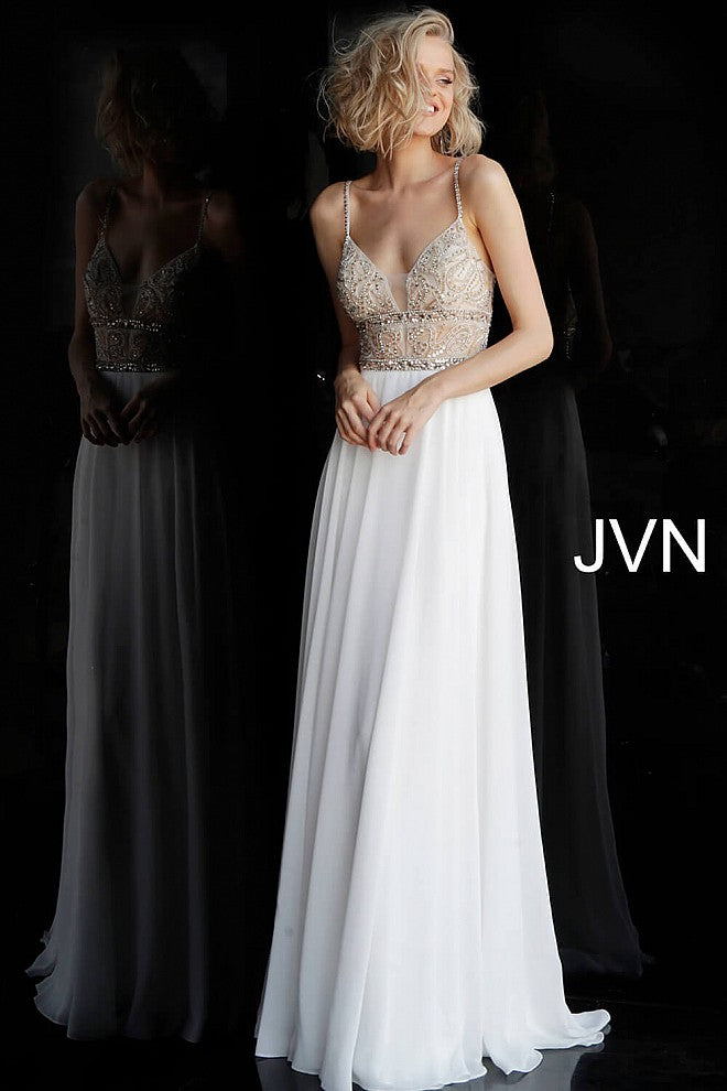 Off White Embellished Bodice Chiffon Prom Dress JVN64870 - Marleighz