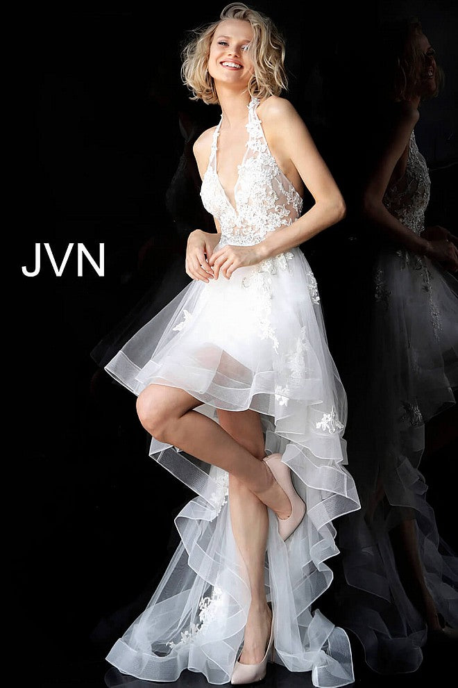 Off White Halter Neckline High Low Prom Dress JVN64882 - Marleighz