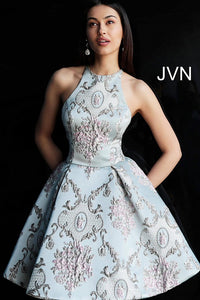 Blue Multi High Neck Open Back Homecoming Dress JVN65513 - Marleighz