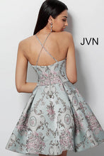 Load image into Gallery viewer, Blue Multi High Neck Open Back Homecoming Dress JVN65513 - Marleighz