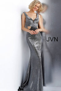 Gunmetal Side Cut Outs Fitted Metallic Prom Dress JVN65600 - Marleighz