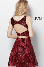 Load image into Gallery viewer, Burgundy Sequin Fit and Flare Homecoming Dress JVN65805 - Marleighz
