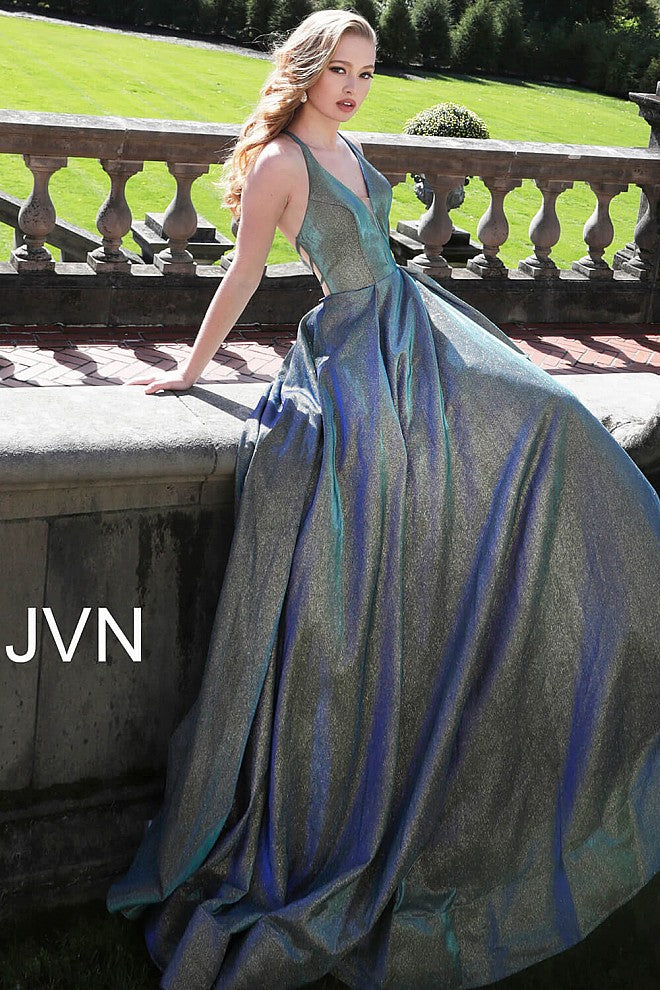 Green and Blue A line Bridesmaid Dress JVN65851 - Marleighz