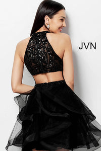 Black High Neck Ruffle Skirt Homecoming Dress JVN65941 - Marleighz