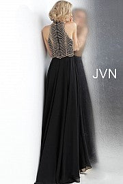 Black High Neck Embellished Bodice Prom Dress JVN65987 - Marleighz