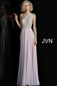 Dusty Lilac Beaded Bodice Criss Cross Back Prom Dress JVN66050 - Marleighz