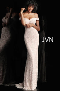 Fitted Lace off the Shoulder Bridesmaid Dress JVN6669 - Marleighz