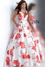 Load image into Gallery viewer, White Print V Neck Pleated Skirt Prom Dress JVN66721 - Marleighz