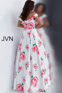 White Floral Print Off the Shoulder Pleated Bodice Prom Dress JVN66895 - Marleighz
