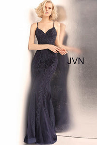 Navy Spaghetti Straps V Neck Fitted Prom Dress JVN66969 - Marleighz
