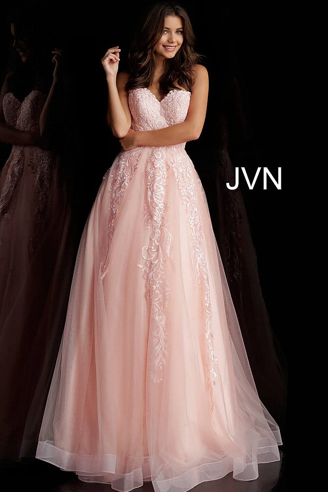 Blush Embroidered Strapless Prom Ballgown JVN66970 - Marleighz