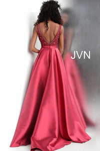 Burgundy Embellished Bodice Pleated Skirt Prom Gown JVN67198 - Marleighz