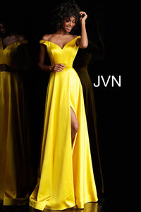 Yellow Off the Shoulder High Slit Prom Dress JVN67752 - Marleighz