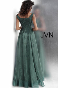 Emerald Embroidered V Neck Prom Gown JVN68271 - Marleighz