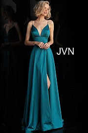 Plunging V Neck Embellished Straps A Line Prom Dress JVN68314 - Marleighz