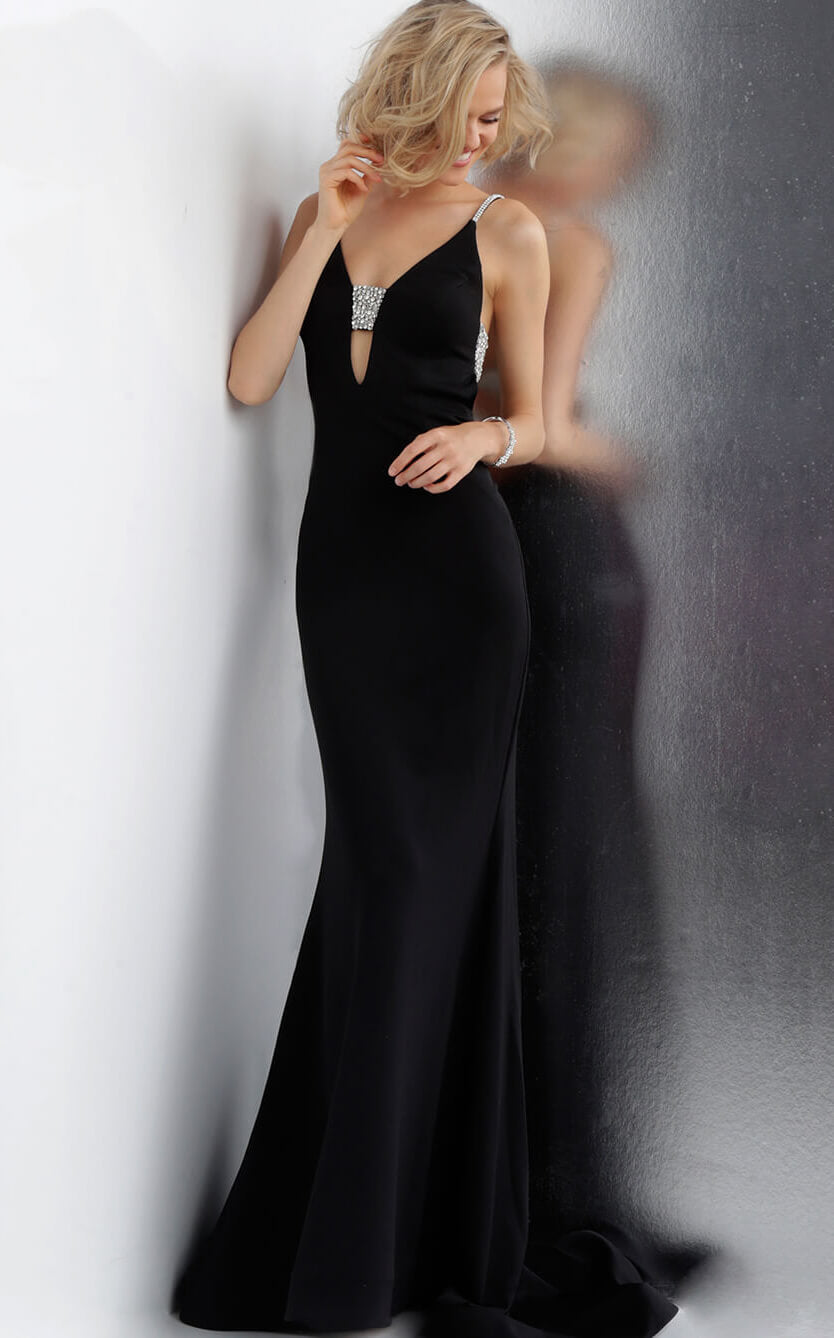 Plunging Neckline Embellished Back Prom Dress JVN68318 - Marleighz