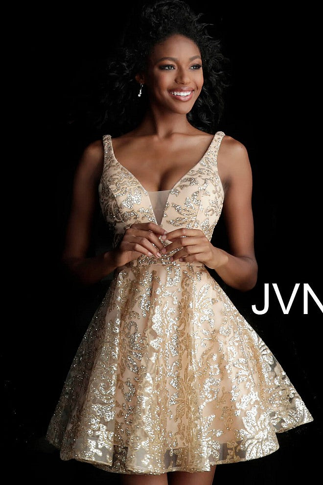 Gold Embellished Fit and Flare Cocktail Dress JVNX65985 - Marleighz