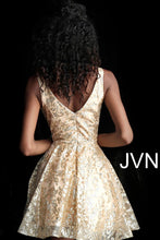 Load image into Gallery viewer, Gold Embellished Fit and Flare Cocktail Dress JVNX65985 - Marleighz
