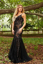 Load image into Gallery viewer, Black Nude Sequin Embellished Spaghetti Straps Prom Dress JVN53214 - Marleighz