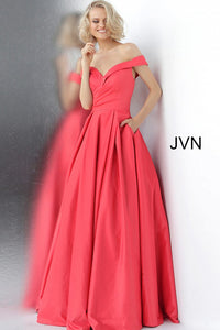 Cherry off The shoulder Bridesmaid Ballgown JVN66894 - Marleighz