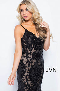 Black Nude Sequin Embellished Spaghetti Straps Prom Dress JVN53214 - Marleighz