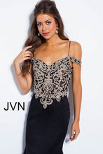 Load image into Gallery viewer, Black Embellished Bodice Sweetheart Neck Prom Dress JVN60204 - Marleighz