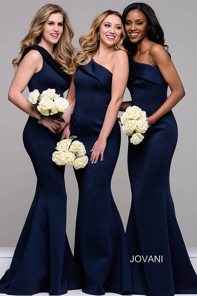 Navy one Shoulder Scuba Mermaid Dress 42983 - Marleighz