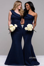 Load image into Gallery viewer, Navy one Shoulder Scuba Mermaid Dress 42983 - Marleighz