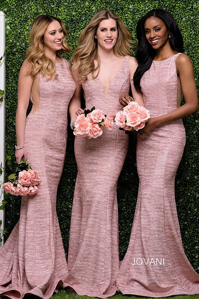 Blush Fitted Glitter Plunging Neckline Dress 45830 and 45811 - Marleighz